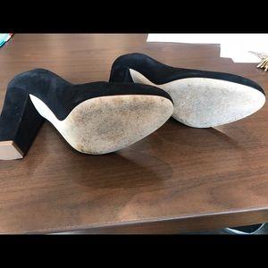 J. Crew women's black block heel pumps.